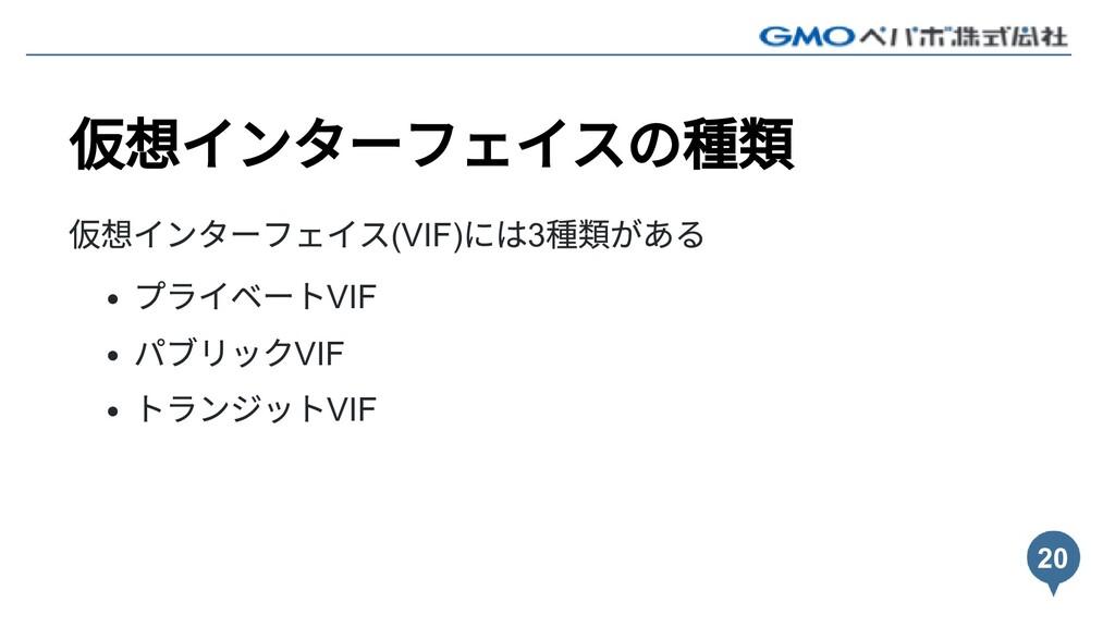 仮想インターフェイスの種類 仮想インターフェイス(VIF) には3 種類がある プライベートV...