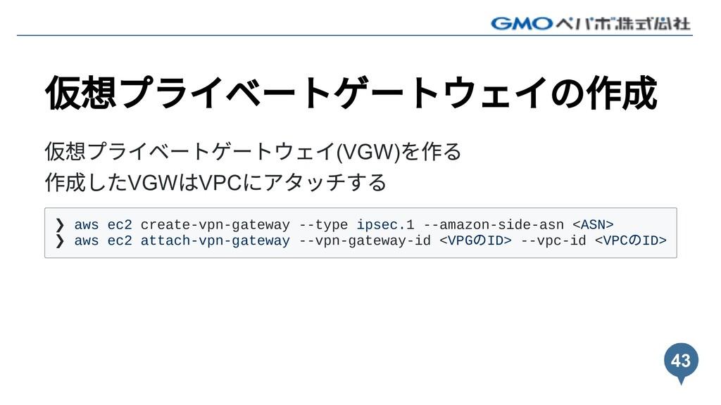 仮想プライベートゲートウェイの作成 仮想プライベートゲートウェイ(VGW) を作る 作成したV...