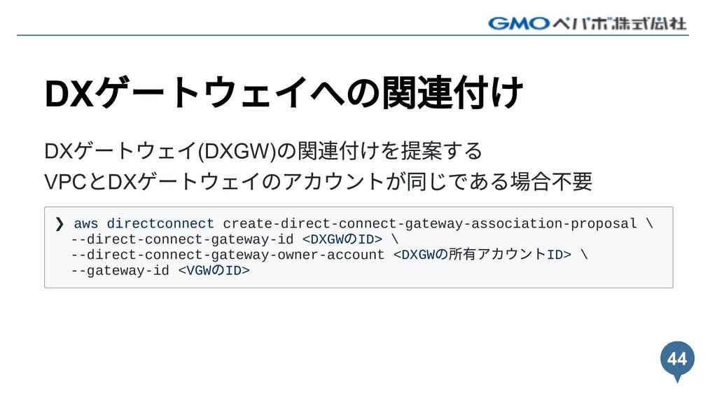 DX ゲートウェイへの関連付け DX ゲートウェイ(DXGW) の関連付けを提案する VPC ...