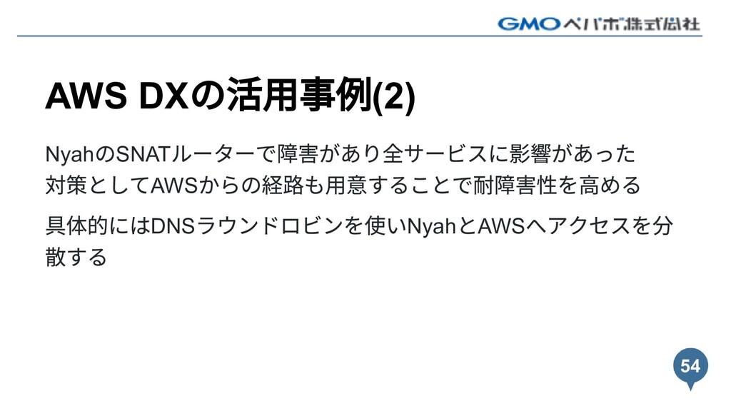 AWS DX の活⽤事例(2) Nyah のSNAT ルーターで障害があり全サービスに影響があ...