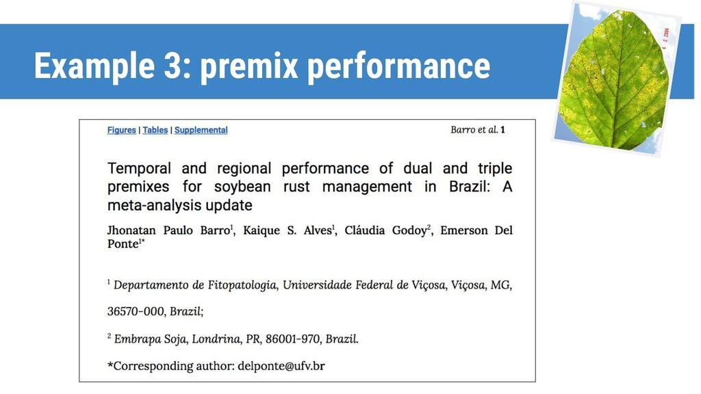 Example 3: premix performance