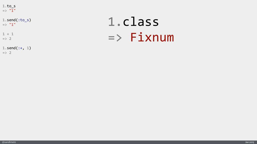 Jan 2015 @sandimetz 1.class  => Fixnum 1....