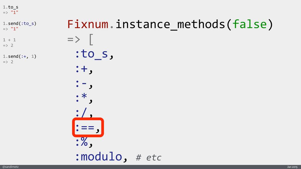 Jan 2015 @sandimetz Fixnum.instance_methods(fal...