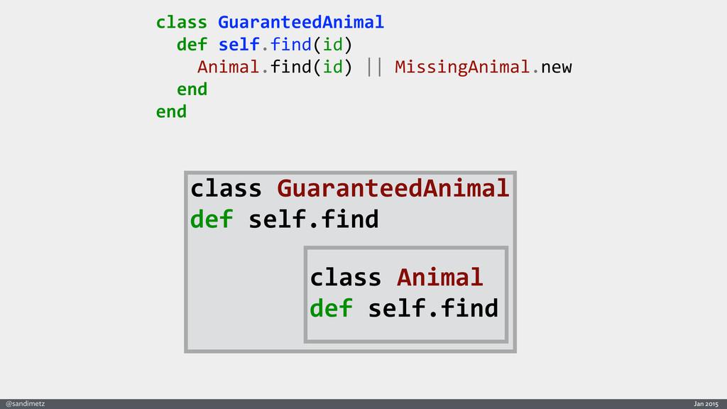 Jan 2015 @sandimetz class GuaranteedAnimal...