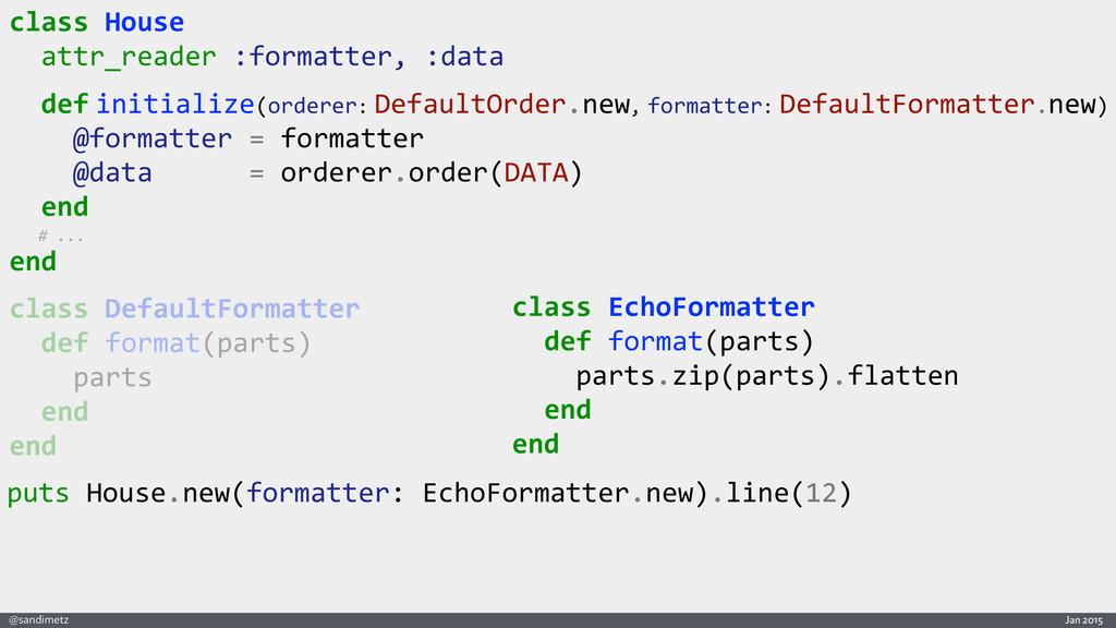 Jan 2015 @sandimetz class DefaultFormatter...