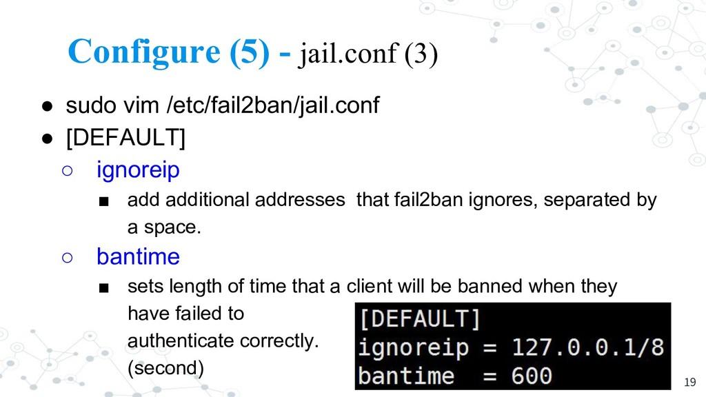 Configure (5) - jail.conf (3) ● sudo vim /etc/f...