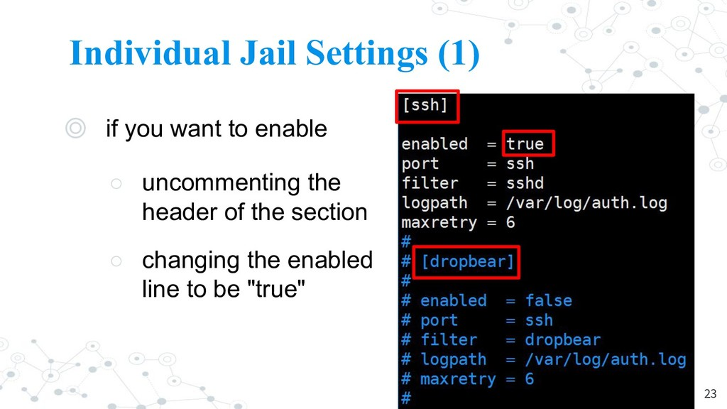 Individual Jail Settings (1) ◎ if you want to e...