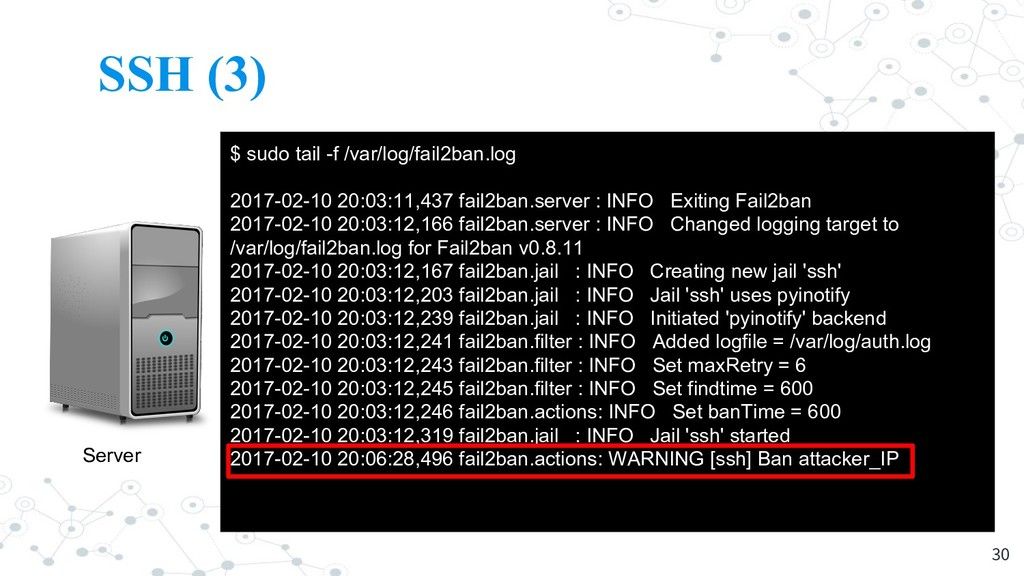 SSH (3) 30 Server Attacker $ sudo tail -f /var/...