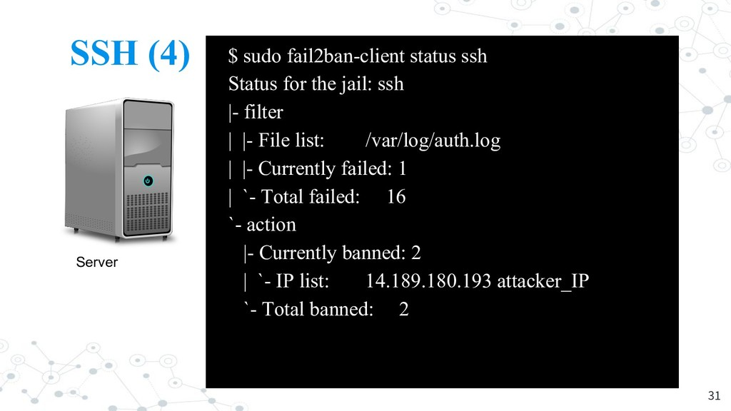 SSH (4) 31 Server Attacker $ sudo fail2ban-clie...