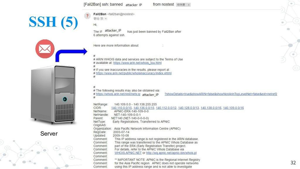 SSH (5) 32 Server Attacker