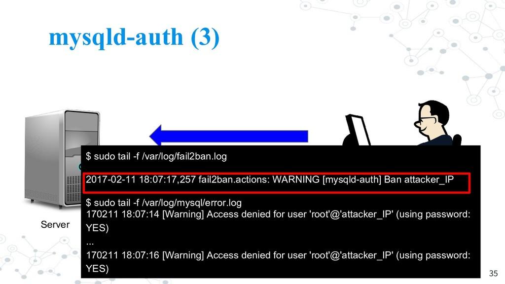 mysqld-auth (3) 35 Server Attacker $ sudo tail ...