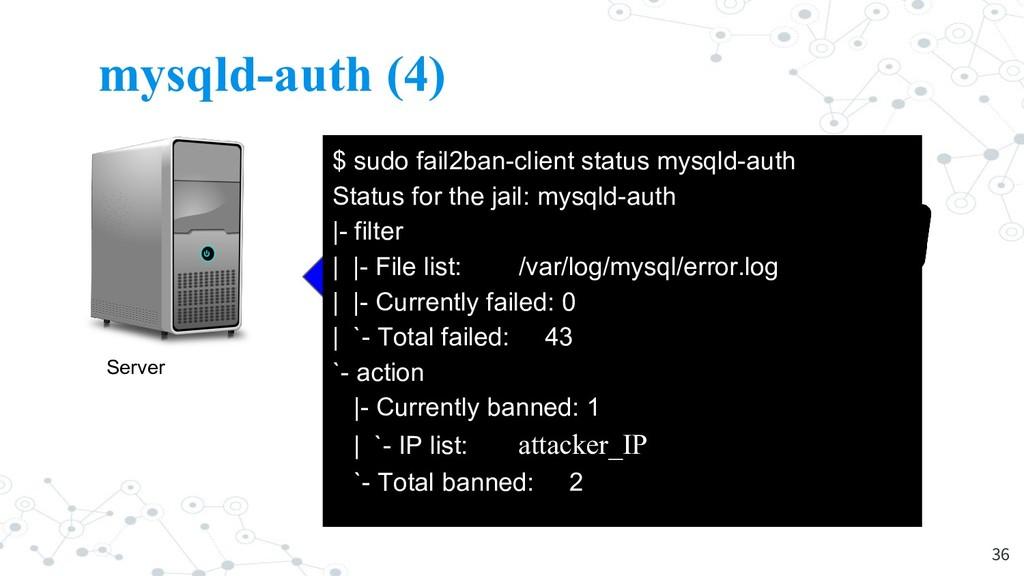 mysqld-auth (4) 36 Server Attacker $ sudo fail2...