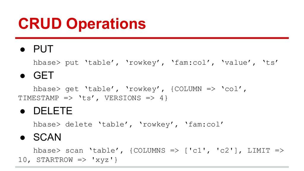 CRUD Operations ● PUT hbase> put 'table', 'rowk...