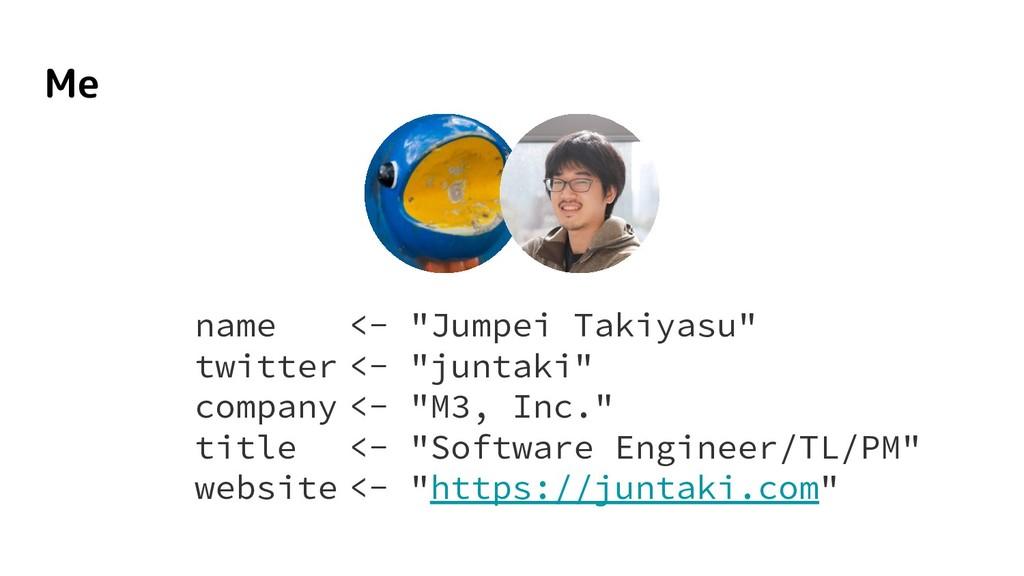 "name <- ""Jumpei Takiyasu"" twitter <- ""juntaki"" ..."
