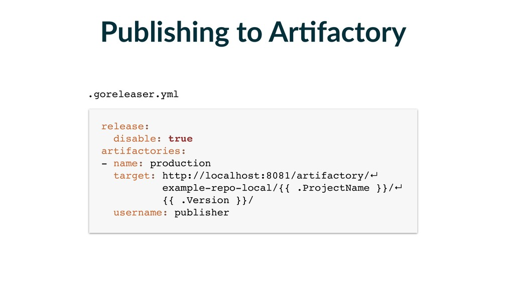 Publishing to ArFfactory release: