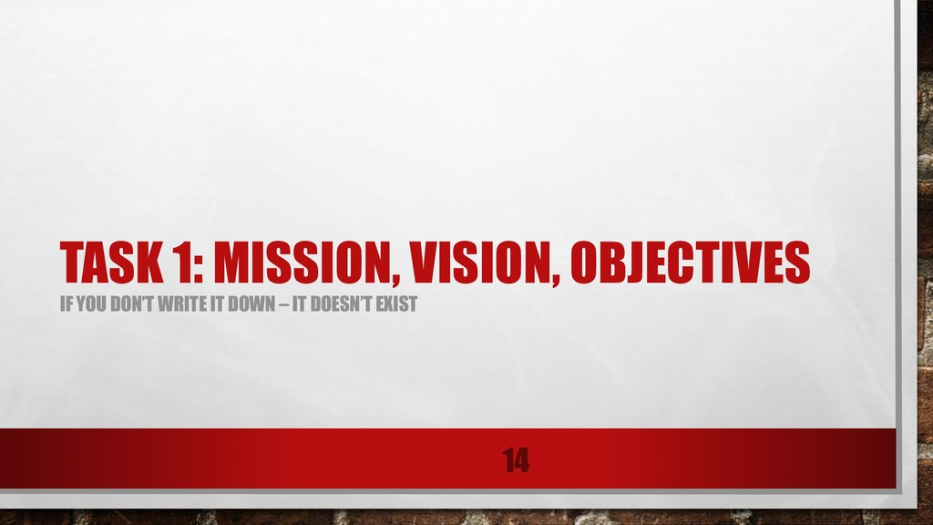 TASK 1: MISSION, VISION, OBJECTIVES IF YOU DON'...