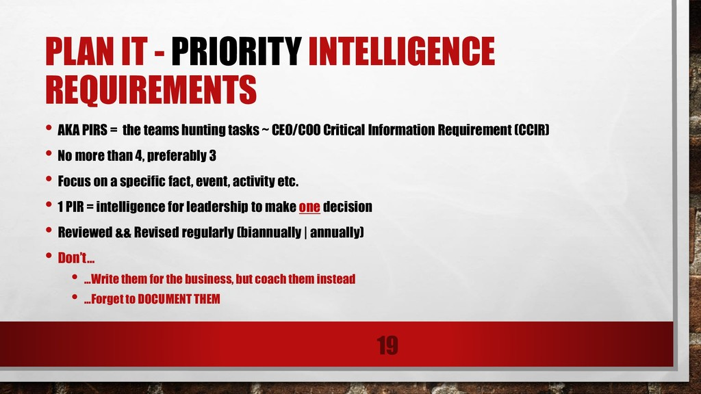 PLAN IT - PRIORITY INTELLIGENCE REQUIREMENTS • ...