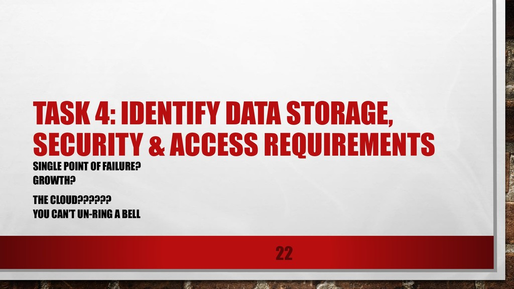 TASK 4: IDENTIFY DATA STORAGE, SECURITY & ACCES...