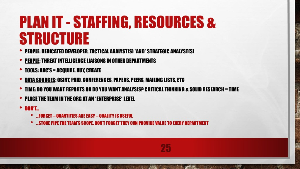 PLAN IT - STAFFING, RESOURCES & STRUCTURE • PEO...