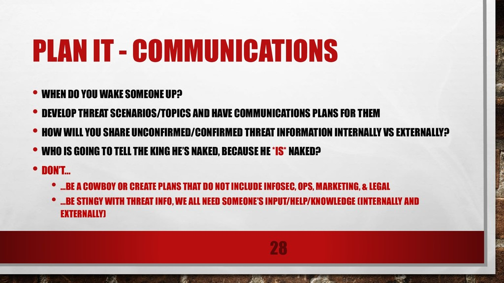 PLAN IT - COMMUNICATIONS • WHEN DO YOU WAKE SOM...