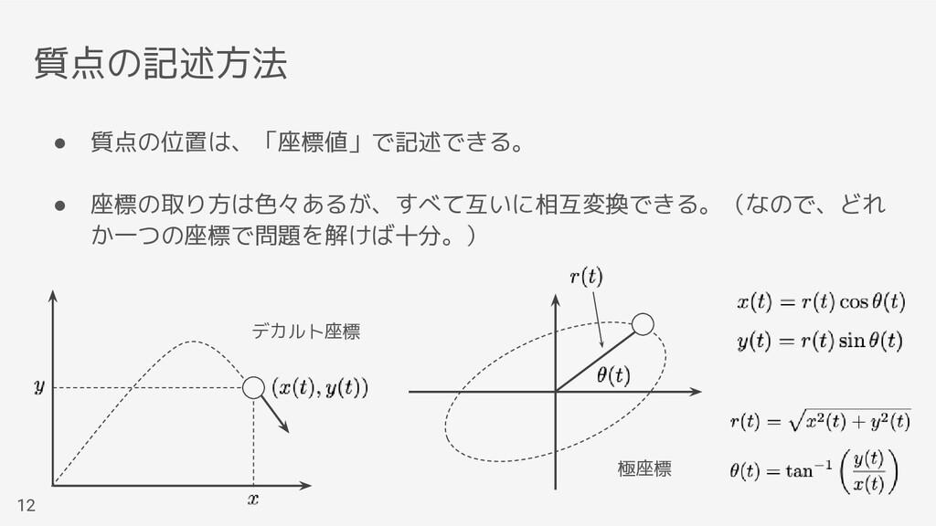 質点の記述方法 ● 質点の位置は、「座標値」で記述できる。 ● 座標の取り方は色々あるが、すべ...