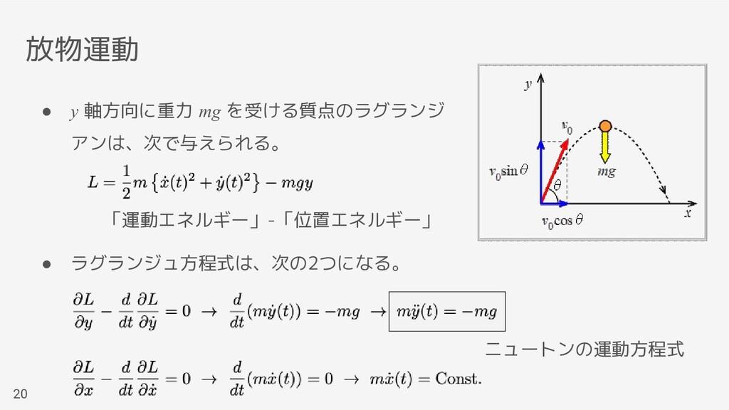● y 軸方向に重力 mg を受ける質点のラグランジ アンは、次で与えられる。 ● ラグランジ...