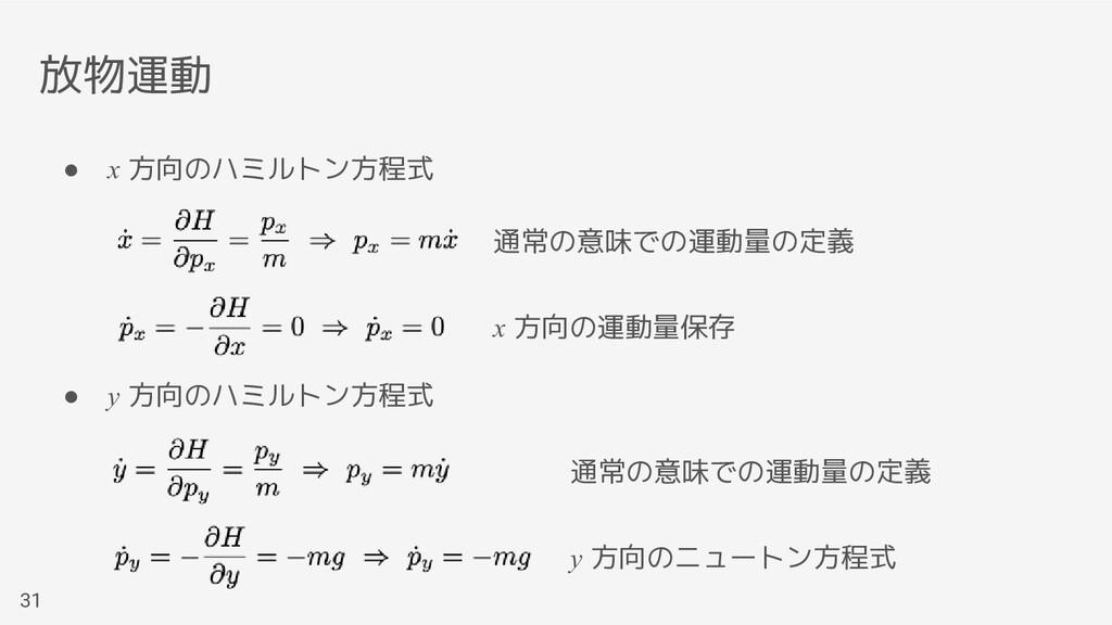 放物運動 31 ● x 方向のハミルトン方程式 ● y 方向のハミルトン方程式 通常の意味での...