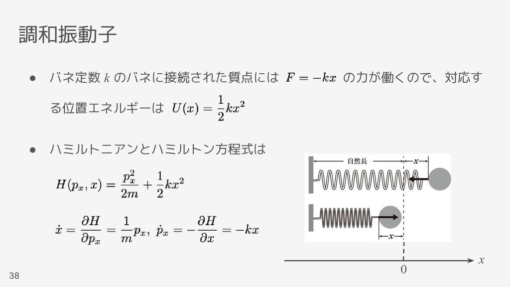 調和振動子 38 ● バネ定数 k のバネに接続された質点には     の力が働くので、対応す...