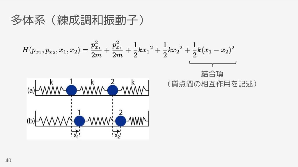 多体系(練成調和振動子) 40 結合項 (質点間の相互作用を記述)