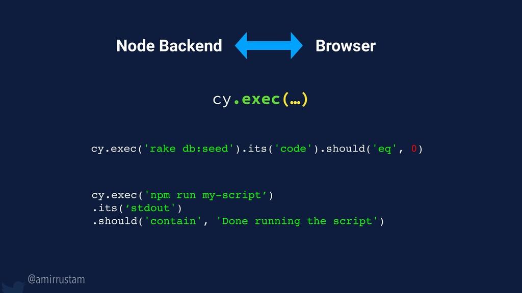 @amirrustam Browser Node Backend cy.exec(…) cy....