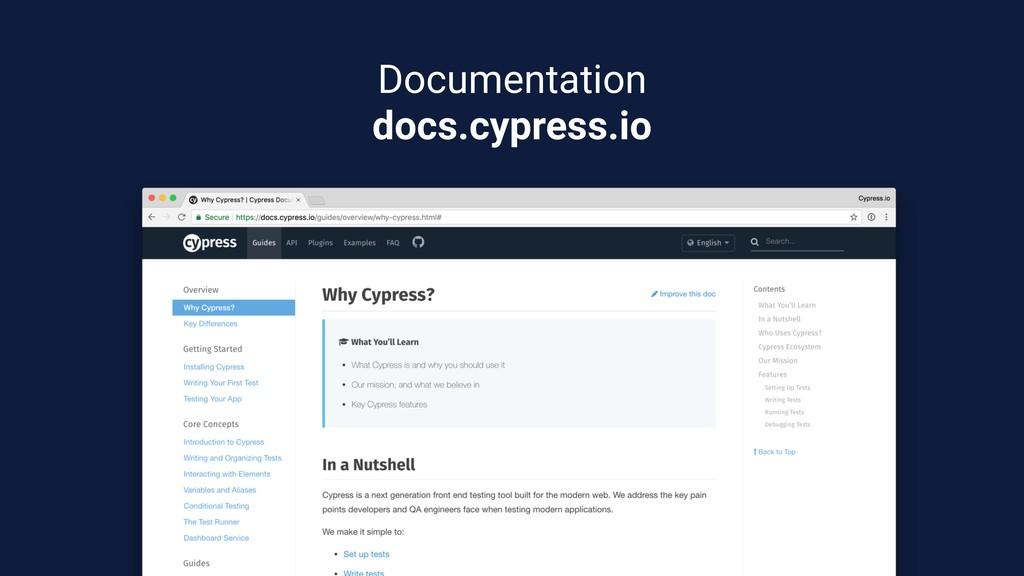 Documentation docs.cypress.io