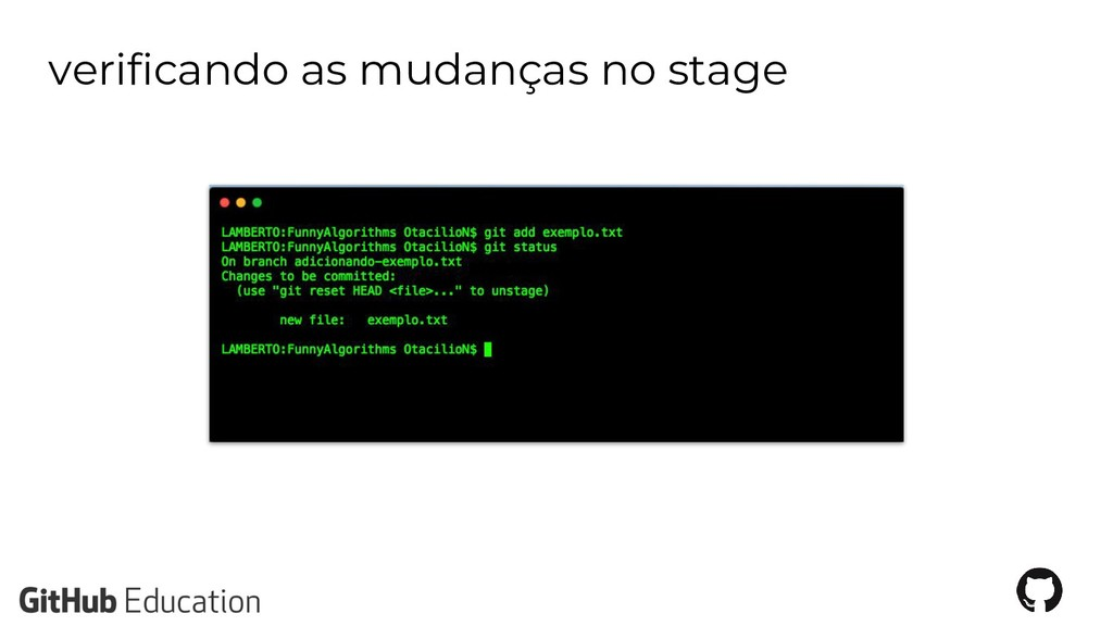 verificando as mudanças no stage