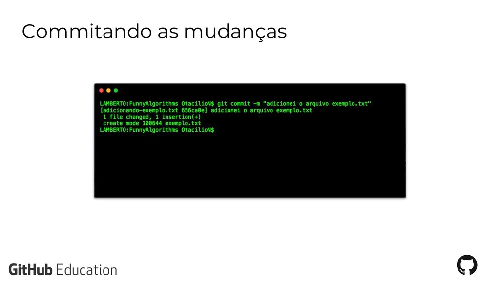 Commitando as mudanças