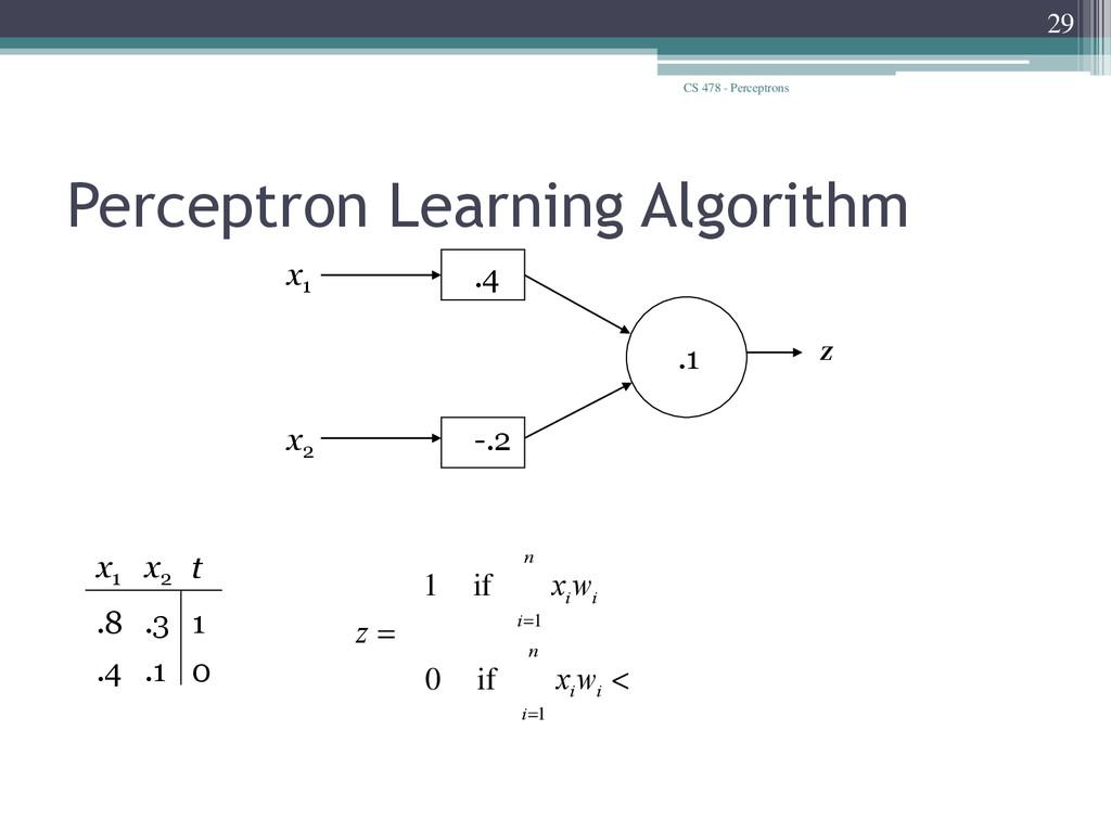 CS 478 - Perceptrons 29 Perceptron Learning Alg...