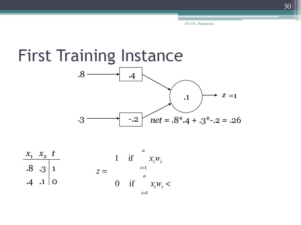 CS 478 - Perceptrons 30 First Training Instance...