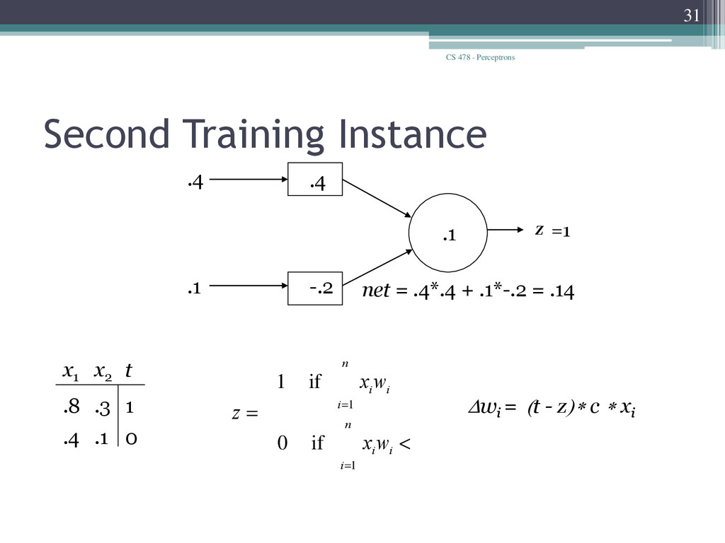 CS 478 - Perceptrons 31 Second Training Instanc...