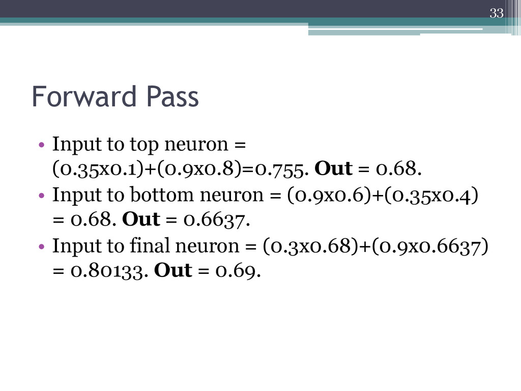 Forward Pass • Input to top neuron = (0.35x0.1)...