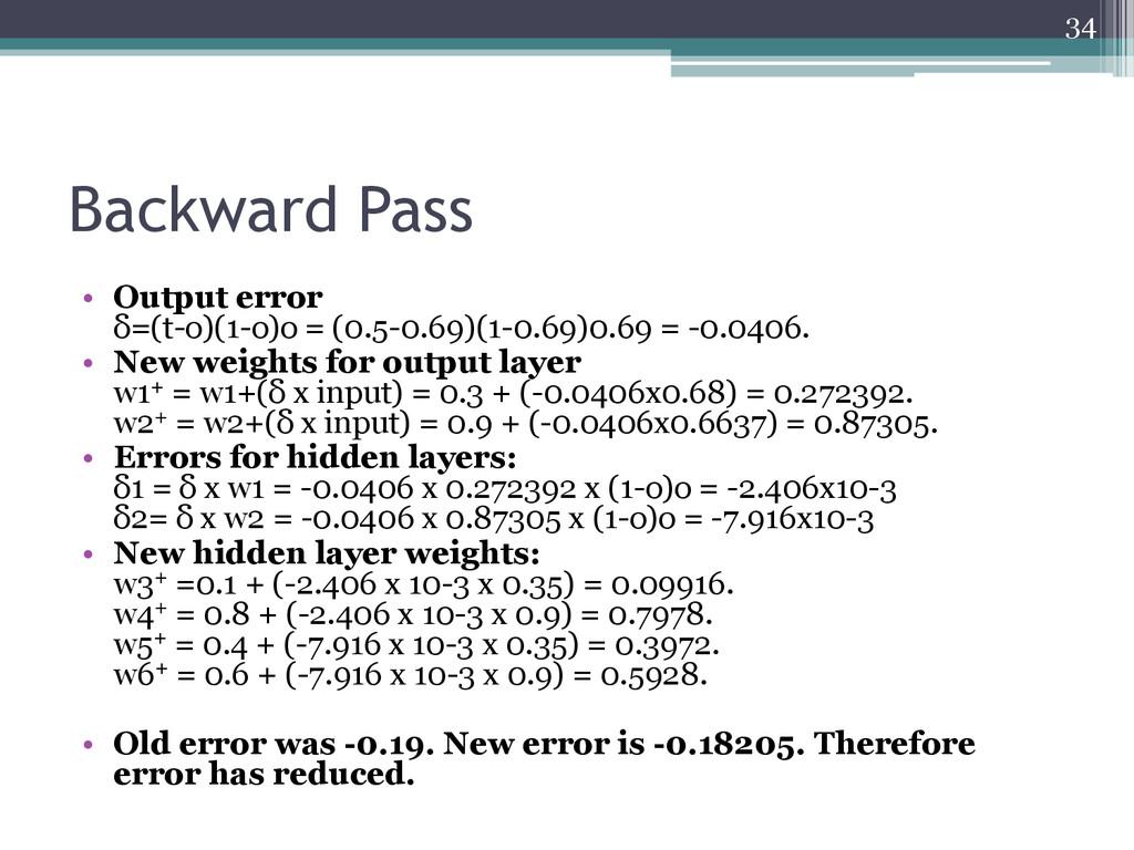 Backward Pass • Output error δ=(t-o)(1-o)o = (0...