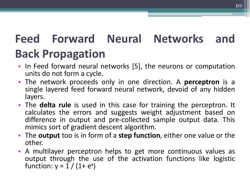 Feed Forward Neural Networks and Back Propagati...