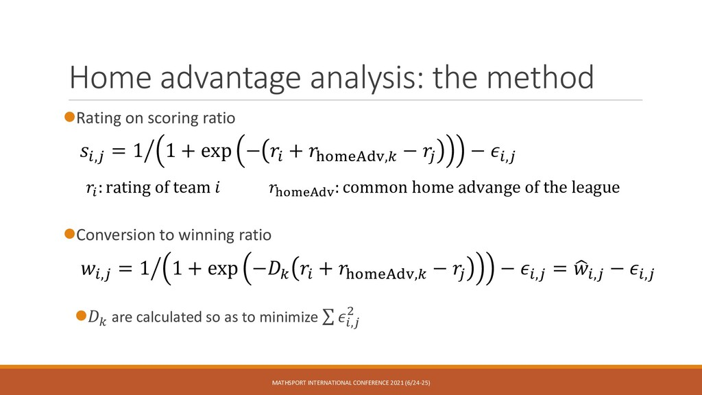 Home advantage analysis: the method ⚫Rating on ...