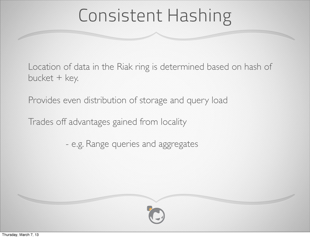 Consistent Hashing Location of data in the Riak...