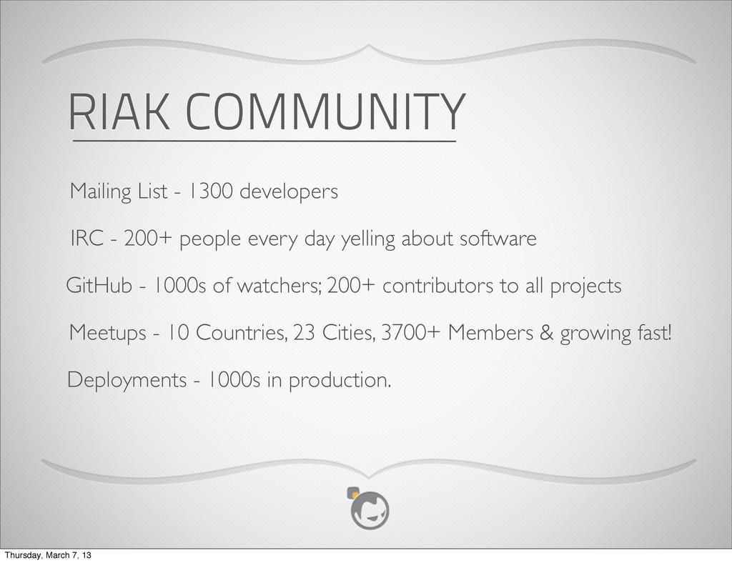 RIAK COMMUNITY Mailing List - 1300 developers I...