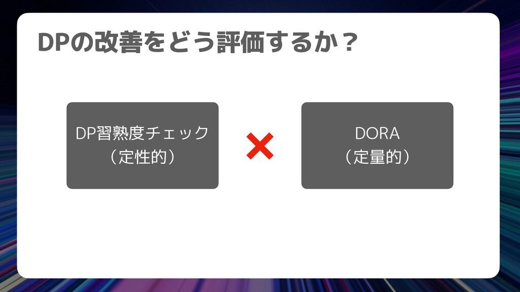 DPの改善をどう評価するか? DP習熟度チェック   (定性的) DORA   (定量的)