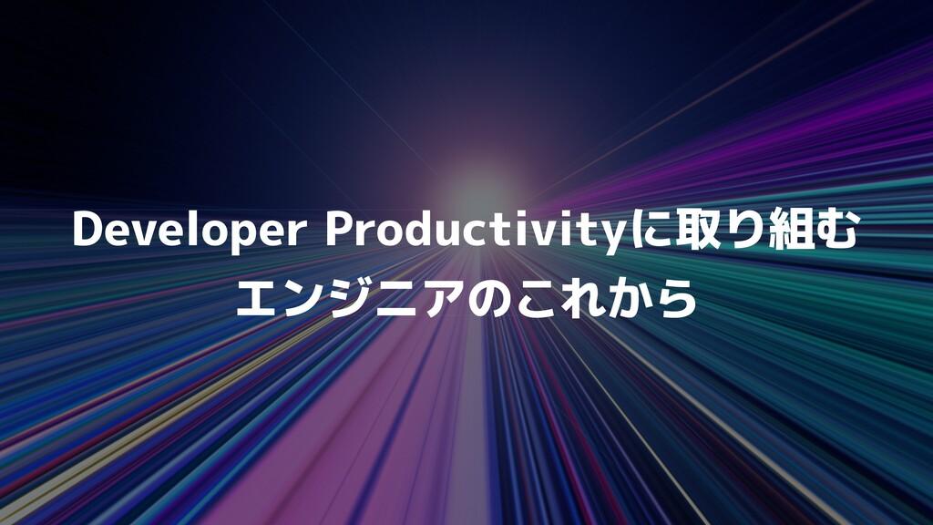 Developer Productivityに取り組む   エンジニアのこれから
