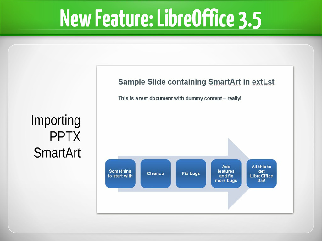 New Feature: LibreOffice 3.5 Importing PPTX Sma...