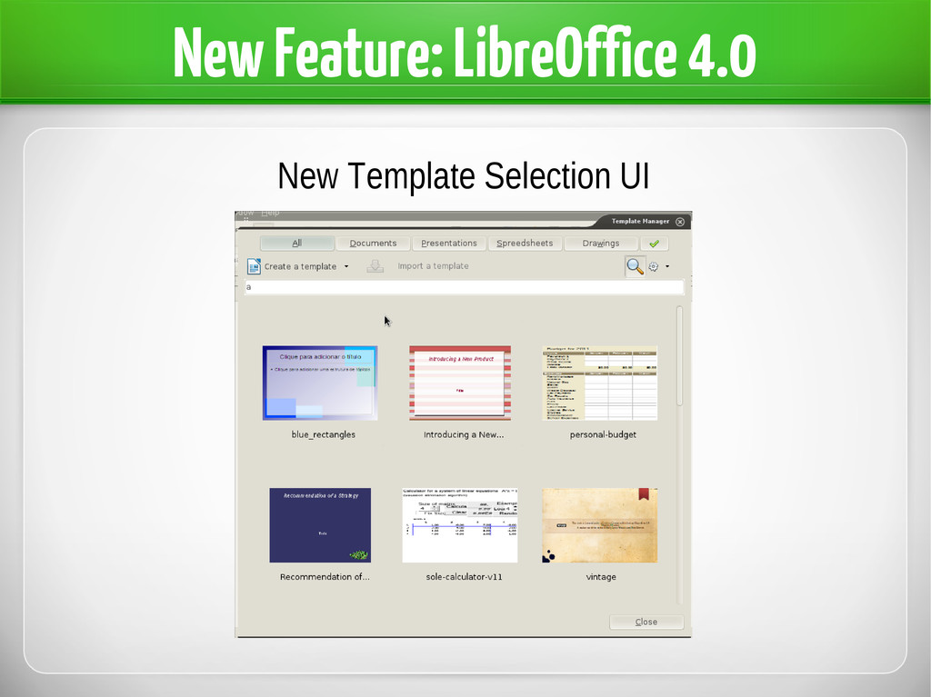 New Feature: LibreOffice 4.0 New Template Selec...