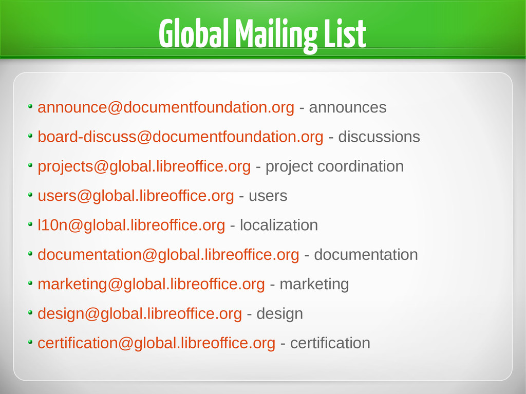 Global Mailing List announce@documentfoundation...