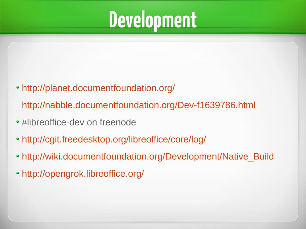 Development http://planet.documentfoundation.or...