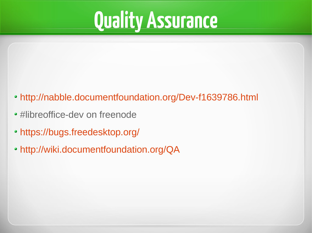 Quality Assurance http://nabble.documentfoundat...