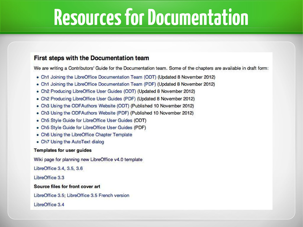 Resources for Documentation